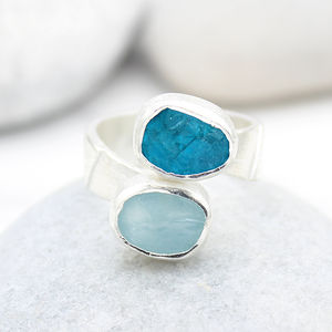 Aquamarine And Apatite Adjustable Chunky Silver Ring