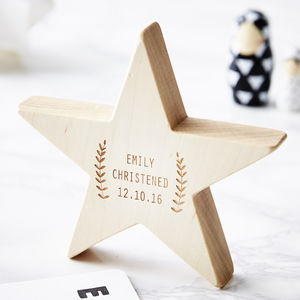 Laurel Personalised Christening Keepsake Star