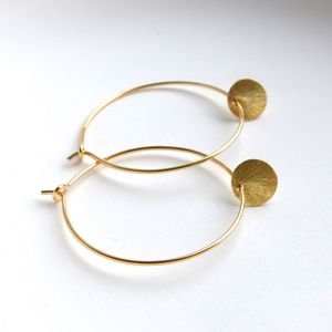 30mm Brushed Disc Hoop Earrings In Gold - earrings