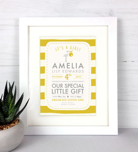 It's A Girl! Personalised Baby Details Print