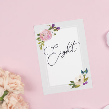 Grey Floral 'Sadie'' Wedding Table Number Pack