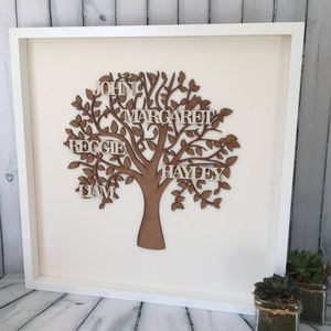 Personalised Framed Natural Wooden Family Tree - mixed media & collage