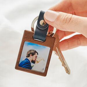 Personalised Wooden Photo Keyring With Leather Strap