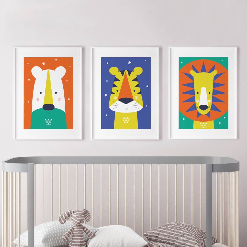 Great Animal Nursery Wall Art Trio Bright And Modern Baby
