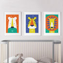 Animal Nursery Wall Art Trio Bright And Modern Baby