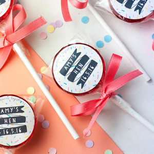 Personalised Hand Tied Hen Do Lollipops - hen party ideas