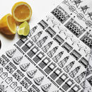 Brighton Row Illustrated Black And White Tea Towel