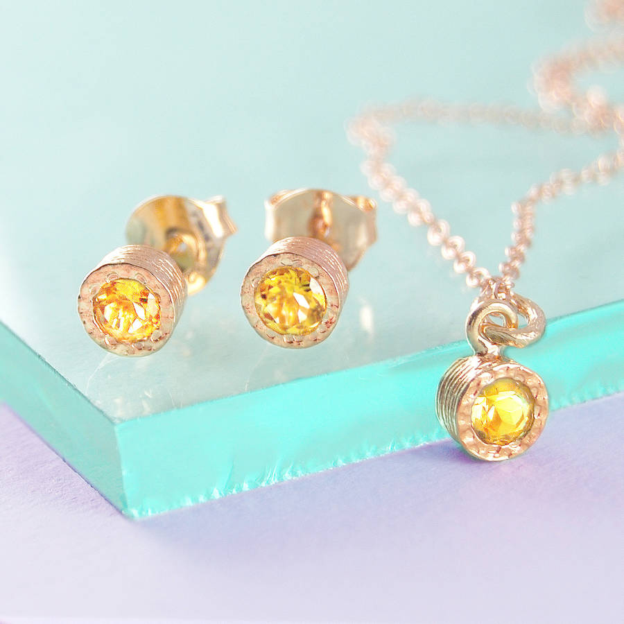 Citrine November Birthstone Rose Gold Stud Earrings Jewellery Set