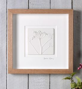 Cow Parsley Plaster Cast Tile In Oak Frame - nature & landscape