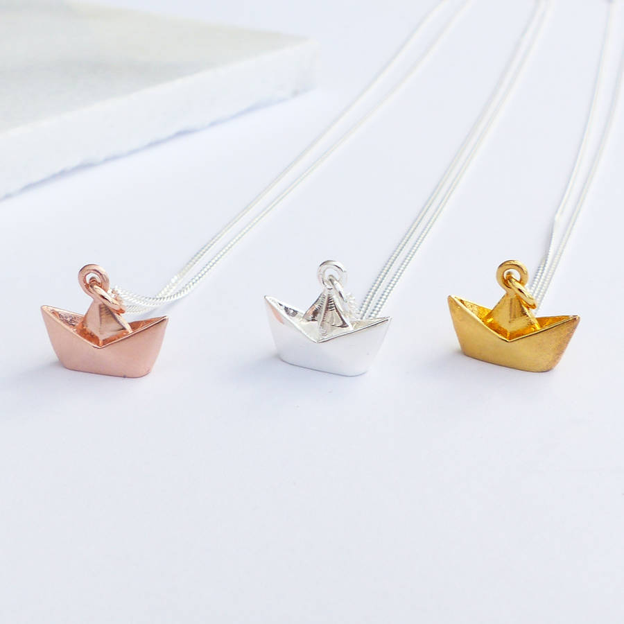 Sterling silver origami boat necklace by evy designs sterling silver origami boat necklace aloadofball Images