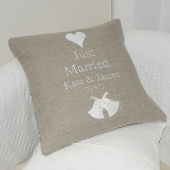 Just Married Linen Cushion