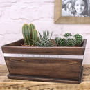 Dark Wood Pot Planter Personalised For Mummy