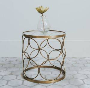 Cirque Clear Glass And Brass Side Table - furniture