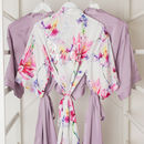 Purple Floral Wedding Bride Bridesmaid Robe Gown