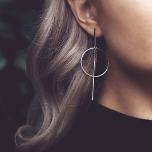 Iona. Minimal Geometric Silver Drop Earrings - earrings