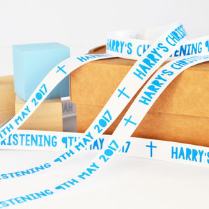 Christening 15mm Personalised Printed Ribbon - interests & hobbies