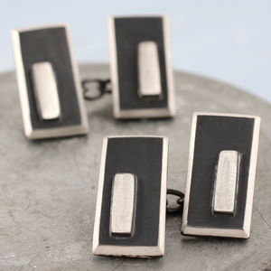 Silver Double Sided Art Deco Cufflinks - men's accessories