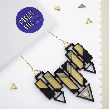 Large Arrow Bar Bib Acrylic Necklace