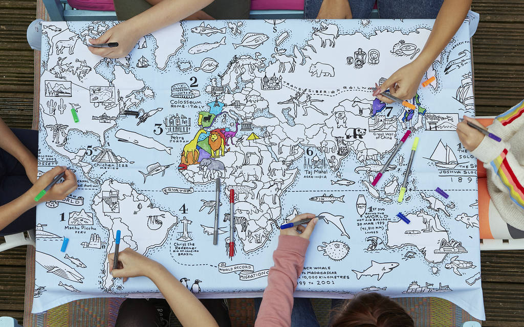 Colour in world map tablecloth by eatsleepdoodle world map tablecloth kids party gumiabroncs Gallery