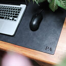 Vintage Leather Personalised Initials Desk Mat