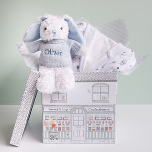 Personalised Baby Boy Bunny And Bathrobe Hamper