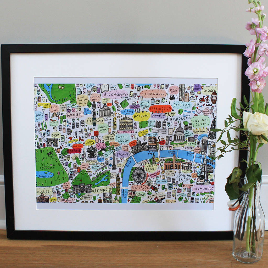 Map Of Central London To Print.Central London Illustrated Map Print