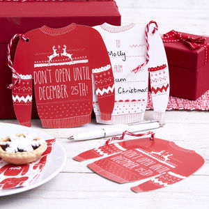 Red And White Giant Christmas Jumper Gift Tags - cards & wrap