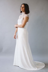 Daphne High Neck Bridal Lace Top With Camisole - wedding dresses