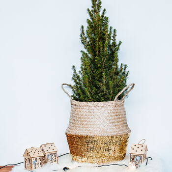 Gold Sequin Weave Xmas Tree Basket