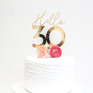 'Hello 30' Cake Topper - 30th birthday gifts
