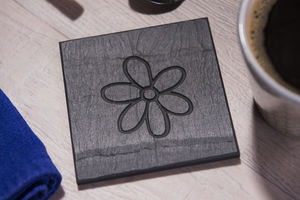 Flower Engraved Slate Coasters