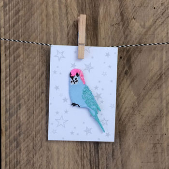 Blue Budgie Iron On Patch