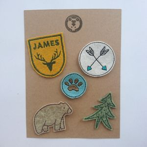 Personalised Embroidered Patch Set Adventure