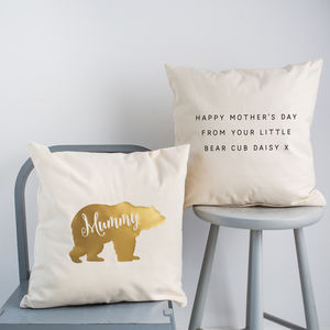 Personalised Limited Edition Gold Bear Cushion - bedroom