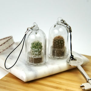 Personalised Mini Terrarium Cactus Keychain - flowers with a twist
