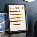 Copper on Natural Metallic Soundwave Print