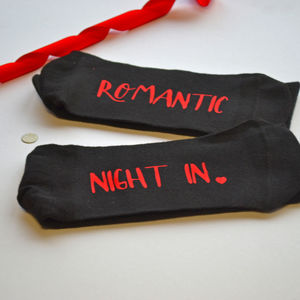 Romantic Night In Slogan Socks - valentine's gifts for him