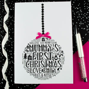 Mummy's First Christmas Daughter Bauble Card - cards