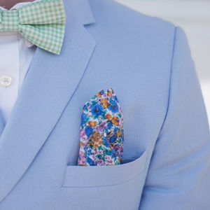 Blue Summer Floral Pocket Square - mens