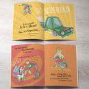 personalised kids book pages for super hero book showing fun car and bear doing housework