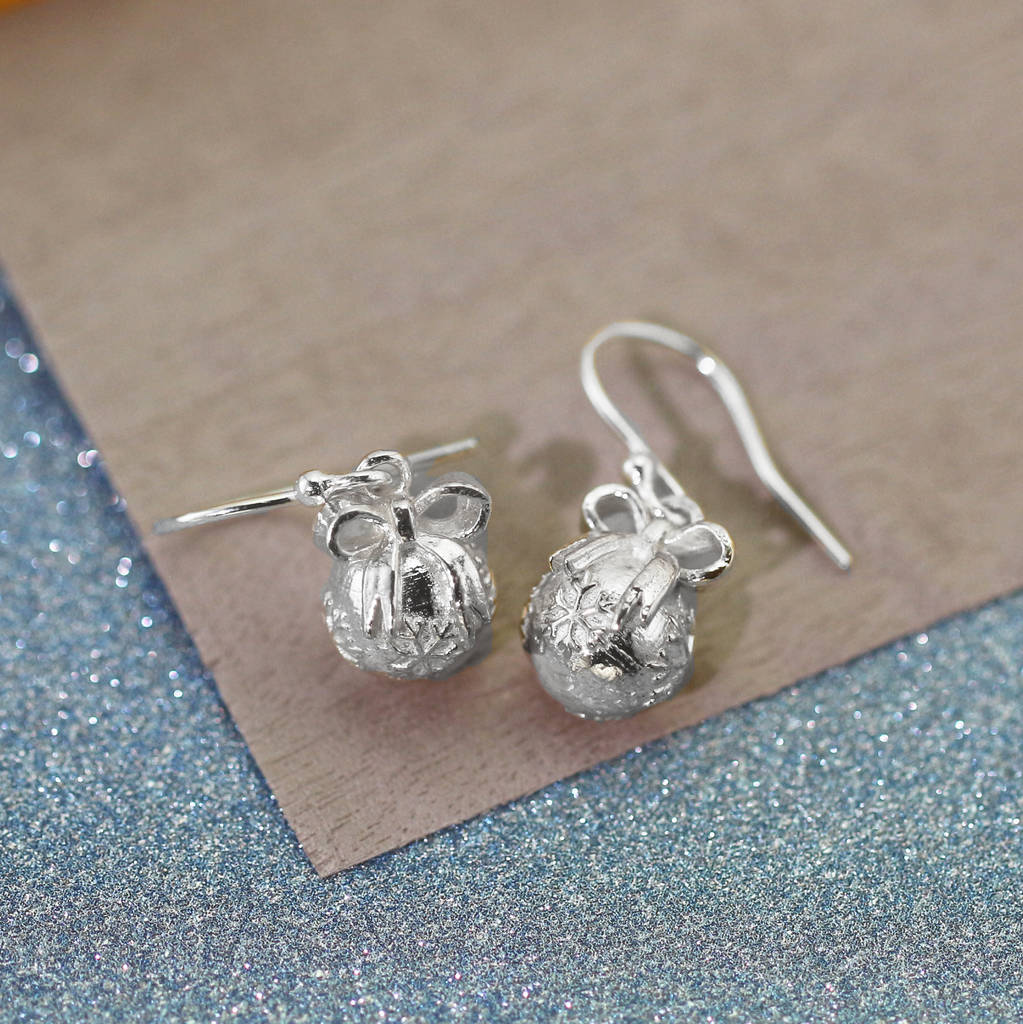 Sterling silver christmas bauble with bow earrings by for Sterling silver christmas jewelry