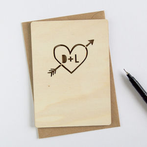 Personalised Wooden Heart Card - wedding cards