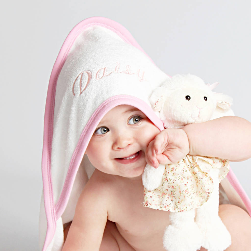 personalised SPANISH WHITE//PINK TRIM Beautiful Embroidered Baby Hooded Towel