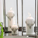 Three Large Silver Stag Candle Pins