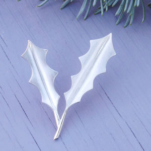 Silver Holly Brooch Brushed Finish