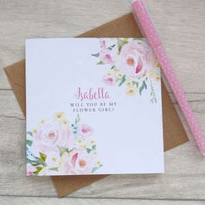 Be My Flower Girl Floral Card - be my bridesmaid?