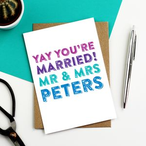 Personalised Yay You're Married Wedding Card - wedding cards