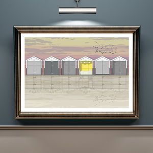 Beach Huts Sunset Architectural Print