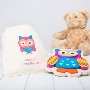 Personalised Wooden Owl Puzzle With Personalised Bag - toys & games