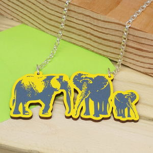Elephant Family Wood And Sterling Silver Necklace - children's jewellery